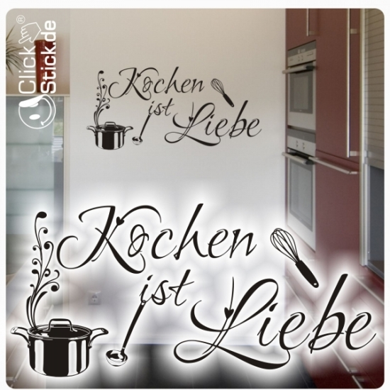 w1532 kochen ist liebe wandtattoo wandaufkleber k che. Black Bedroom Furniture Sets. Home Design Ideas