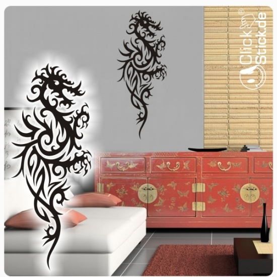 w279 dragon asia wandtattoo wandaufkleber tribal drache. Black Bedroom Furniture Sets. Home Design Ideas