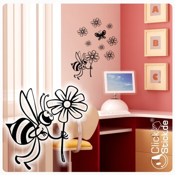 w162 biene blumen schmetterling wandtattoo wandaufkleber. Black Bedroom Furniture Sets. Home Design Ideas